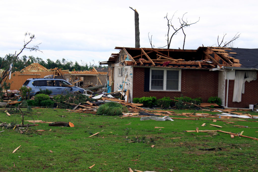 Stock Photo: 4095-107 Damaged home after a storm ravaged, Limestone County, Alabama, USA