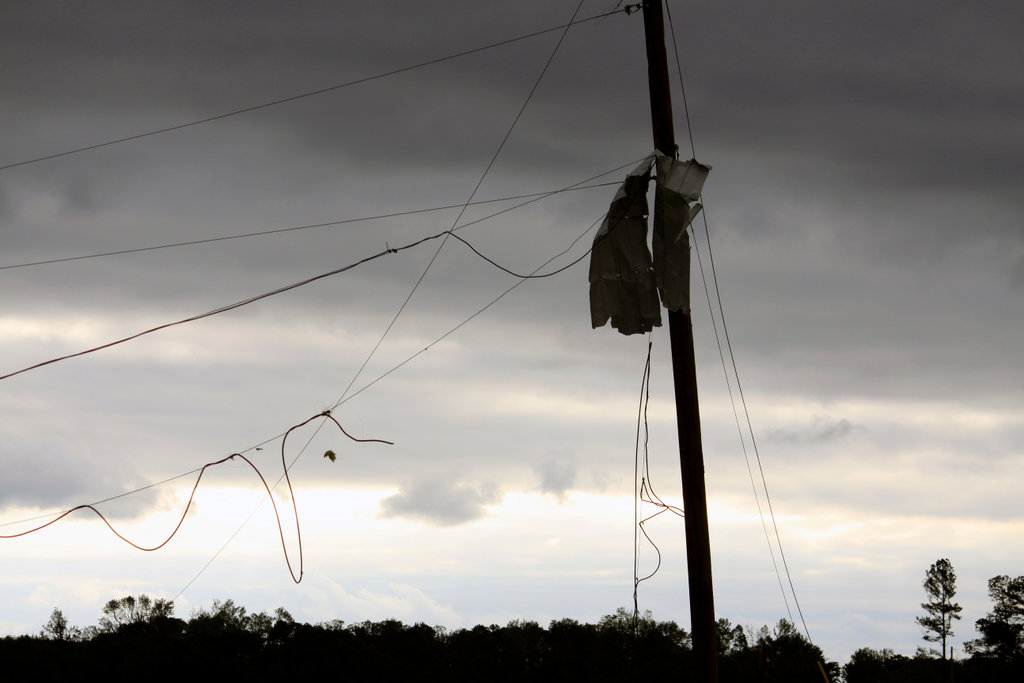 Damaged telephone pole after a storm ravaged, Limestone County, Alabama, USA : Stock Photo