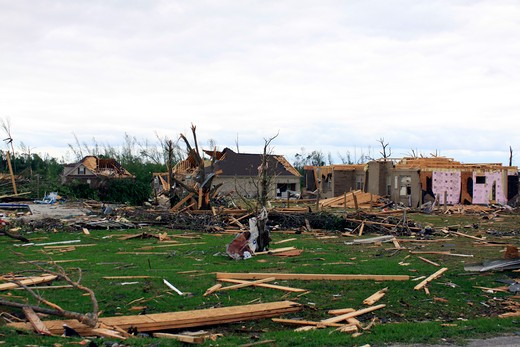 Homes destroyed by storms, Limestone County, Alabama, USA : Stock Photo