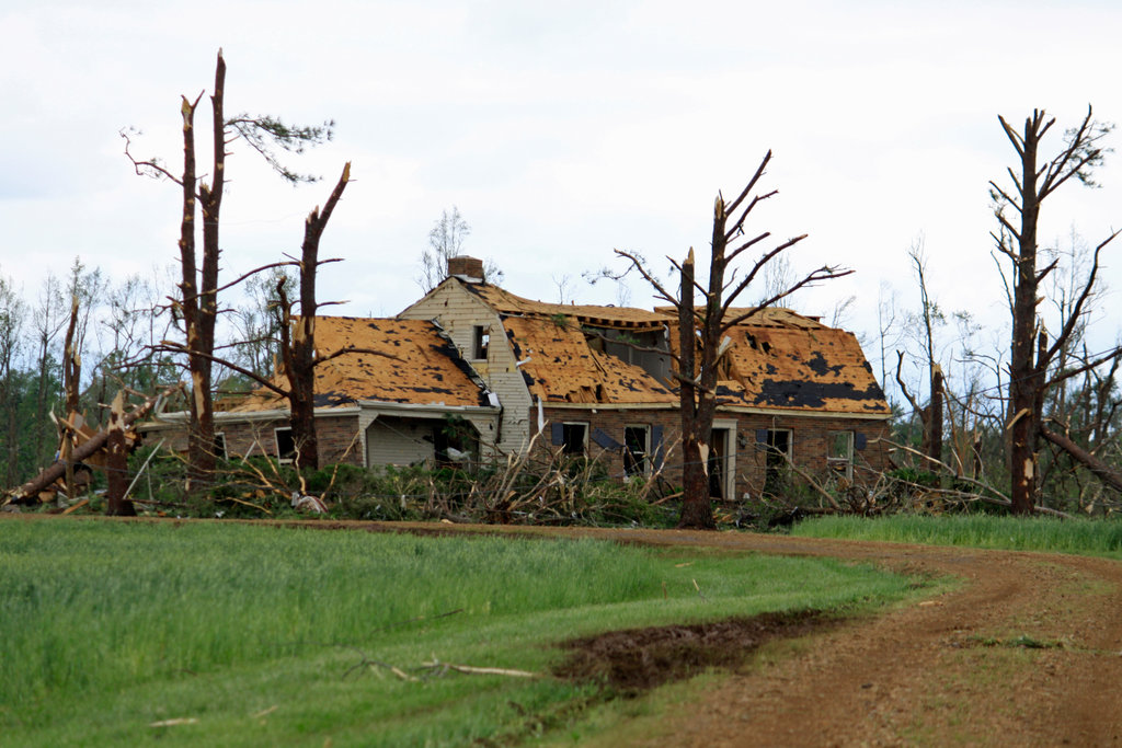 Stock Photo: 4095-113 House and trees damaged by tornado, Limestone County, Alabama, USA