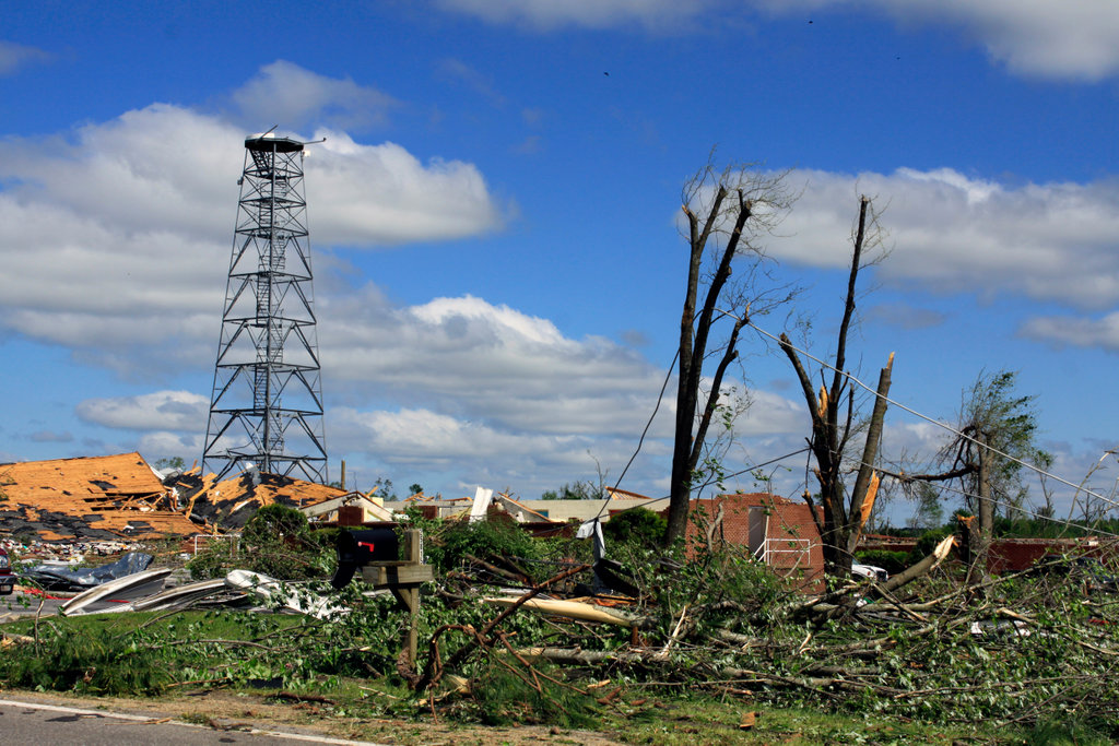 Stock Photo: 4095-114 Remains of a television station and homes after storms ravaged, Limestone County, Alabama, USA
