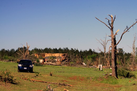 Stock Photo: 4095-117 Home and a car destroyed by a tornado, Limestone County, Alabama, USA