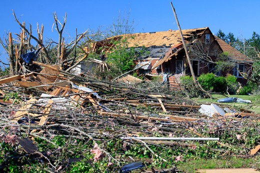 Home and trees destroyed by a tornado, Limestone County, Alabama, USA : Stock Photo