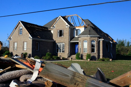 House damaged by tornado, Alabama, USA : Stock Photo