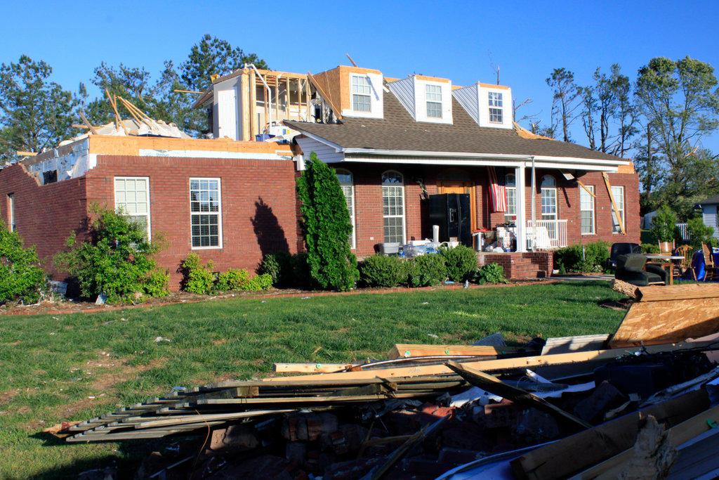 House damaged by tornado, Alabama, USA : Stock Photo