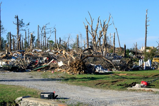 Stock Photo: 4095-123 Houses with trees damaged by tornado, Alabama, USA