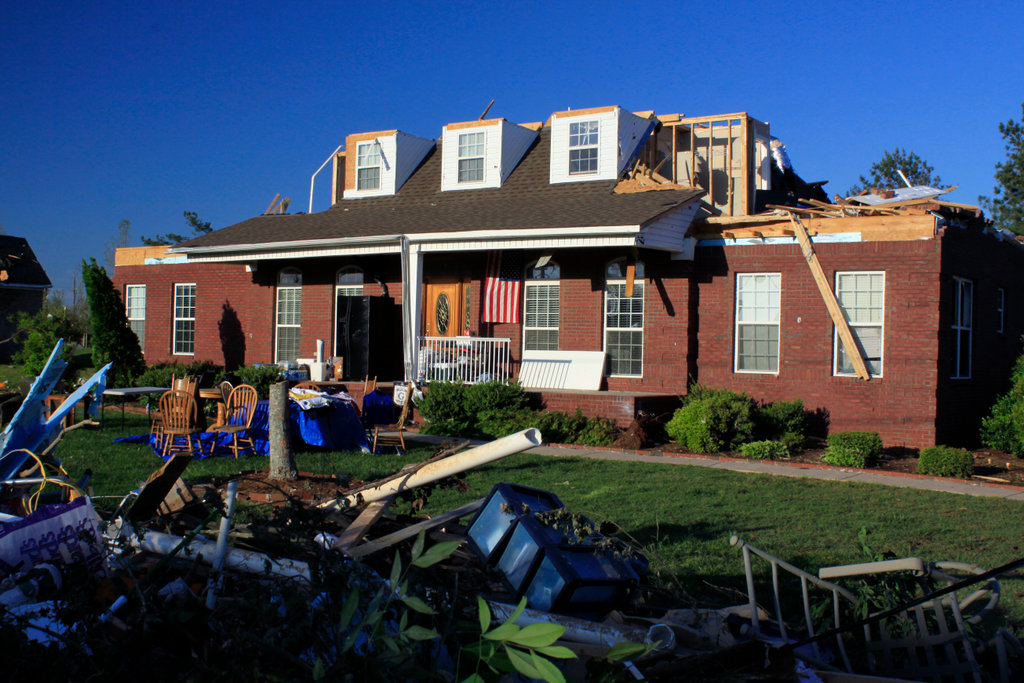 Stock Photo: 4095-128 House damaged by tornado, Alabama, USA