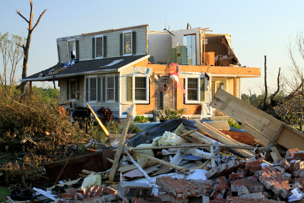 Stock Photo: 4095-129 House damaged by tornado, Alabama, USA