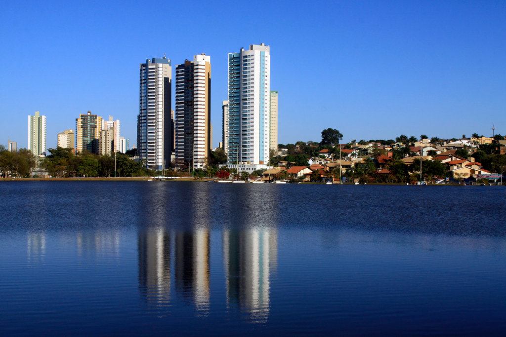Stock Photo: 4095-145 Brazil, Campo Grande, part of city and its reflection in lake in Indigenous Nations Park