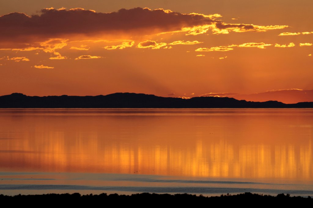 USA, Utah, Antelope Island State Park, Sunset on Bridger Bay and Great Salt Lake : Stock Photo