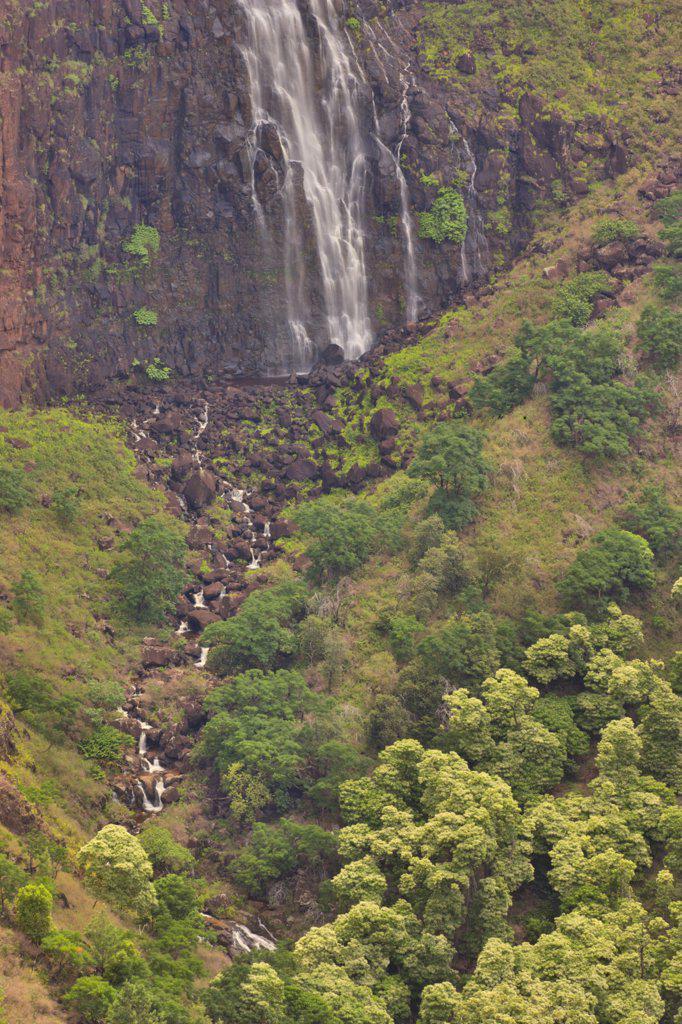 Stock Photo: 4097-1011 High angle view of a stream with waterfall in the background, Kokee Streem, Waimea Canyon, Kauai, Hawaii, USA