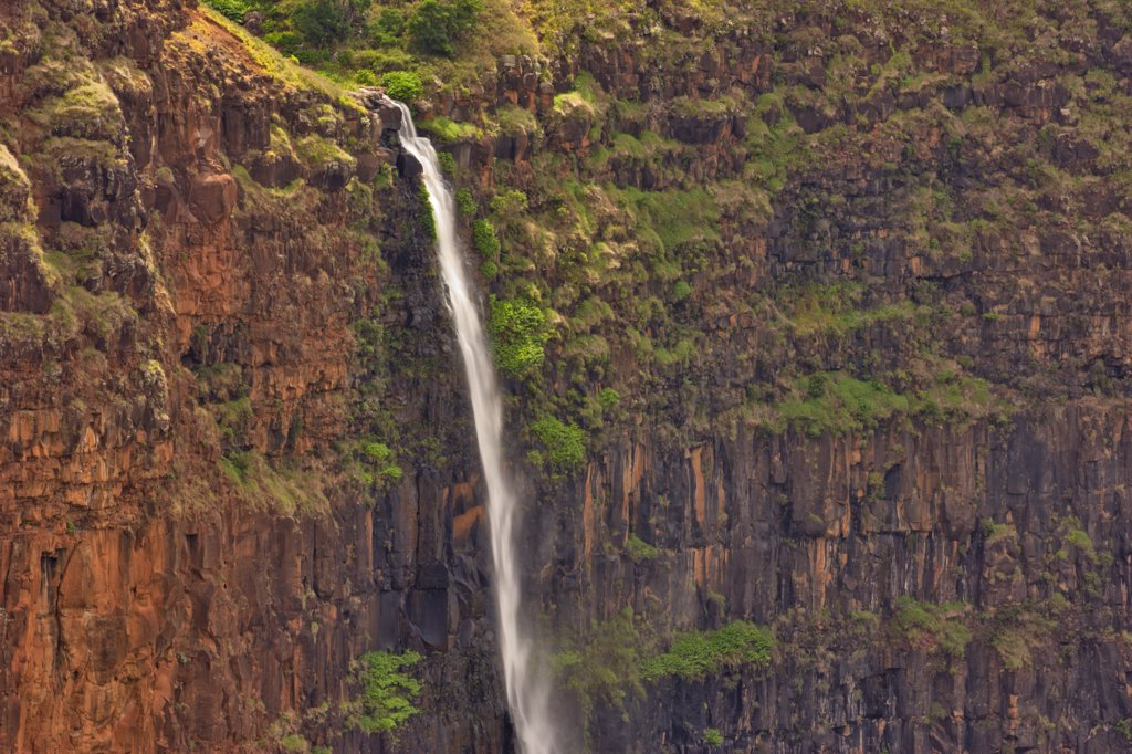Stock Photo: 4097-1247A High angle view of a waterfall, Waipoo Falls, Waimea Canyon, Kauai, Hawaii, USA