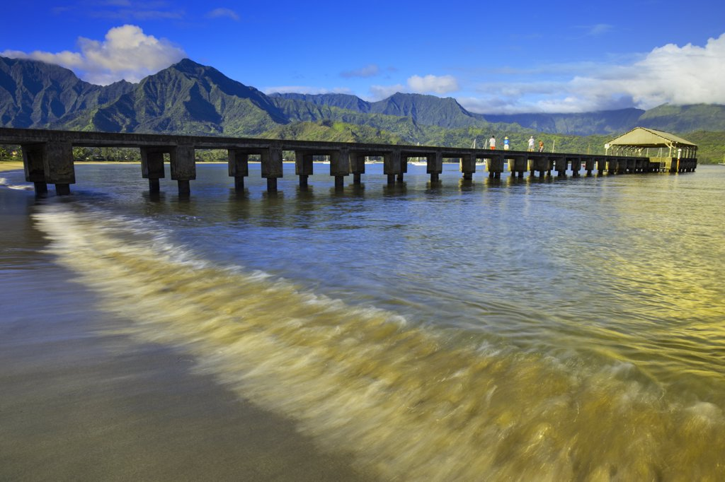 Stock Photo: 4097-1265D Pier on the dock, Hanalei Pier, Hanalei Bay, Kauai, Hawaii, USA