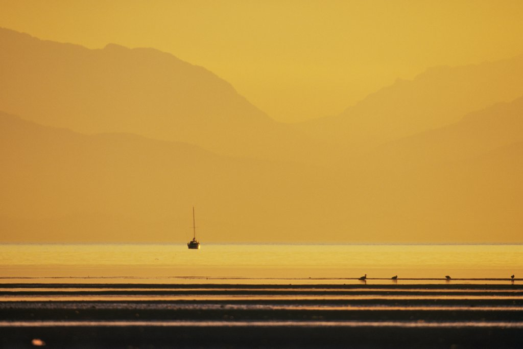 Sailboat in the ocean, Rathtrevor Beach Provincial Park, Parksville, Vancouver Island, British Columbia, Canada : Stock Photo