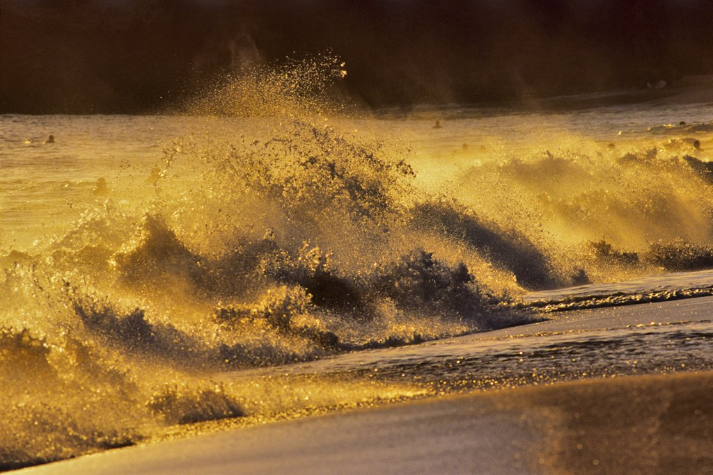 Stock Photo: 4097-1454 Waves breaking on the beach, Makena Beach, Maui, Hawaii, USA