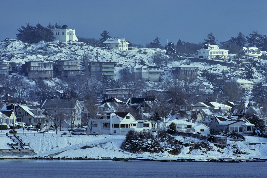 Stock Photo: 4097-1521 Buildings covered with snow, Fairfield, Victoria, British Columbia, Canada