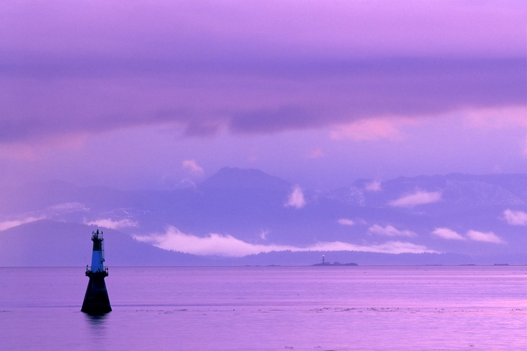 Stock Photo: 4097-1575A Silhouette of a navigational buoy in the sea, Strait of Juan De Fuca, Victoria, British Columbia, Canada
