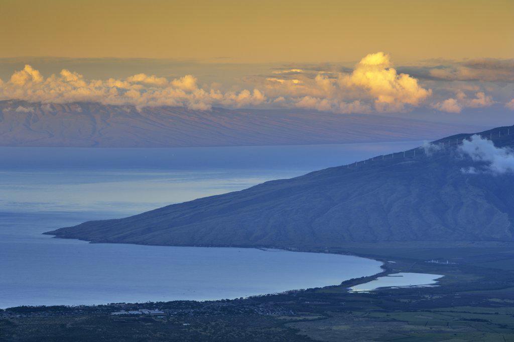 Stock Photo: 4097-1711 West Maui Mountains viewed from Haleakala Crater, Maalaea Bay, Maui, Hawaii, USA