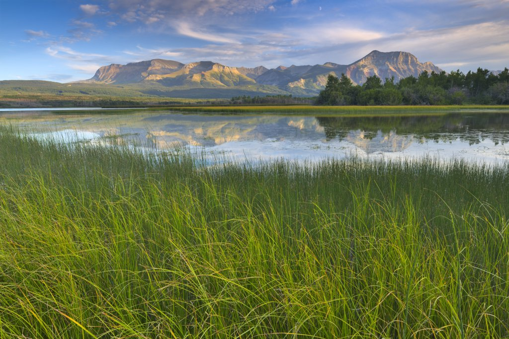 Stock Photo: 4097-181 Reflection of mountains in water, Waterton Lakes National Park, Alberta, Canada