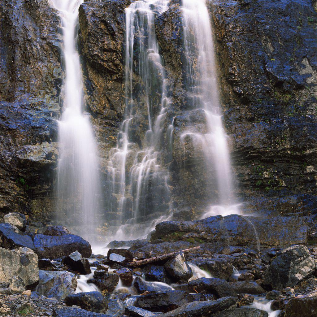 Stock Photo: 4097-1956B Waterfall, Tangle Falls, Jasper National Park, Alberta, Canada