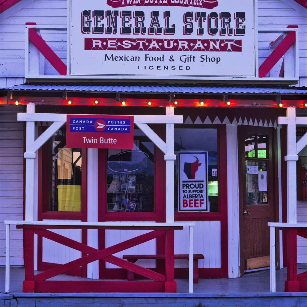 Stock Photo: 4097-1981 Facade of a general store, Twin Butte, Alberta, Canada