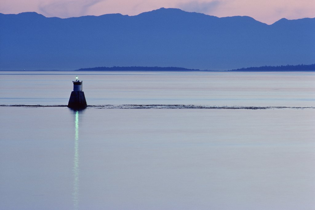 Buoy in the sea, Olympic Mountains, Victoria, Vancouver Island, British Columbia, Canada : Stock Photo