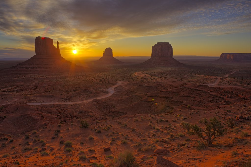 Stock Photo: 4097-2123 Rock formations in a desert, Monument Valley, Arizona-Utah, USA