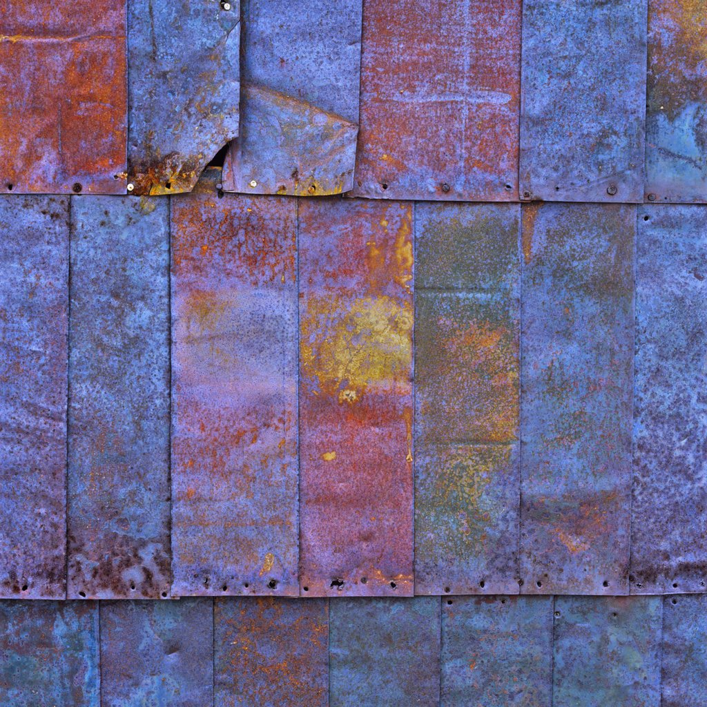 Close-up of rusty metal sheets, Bodie Ghost Town, California, USA : Stock Photo