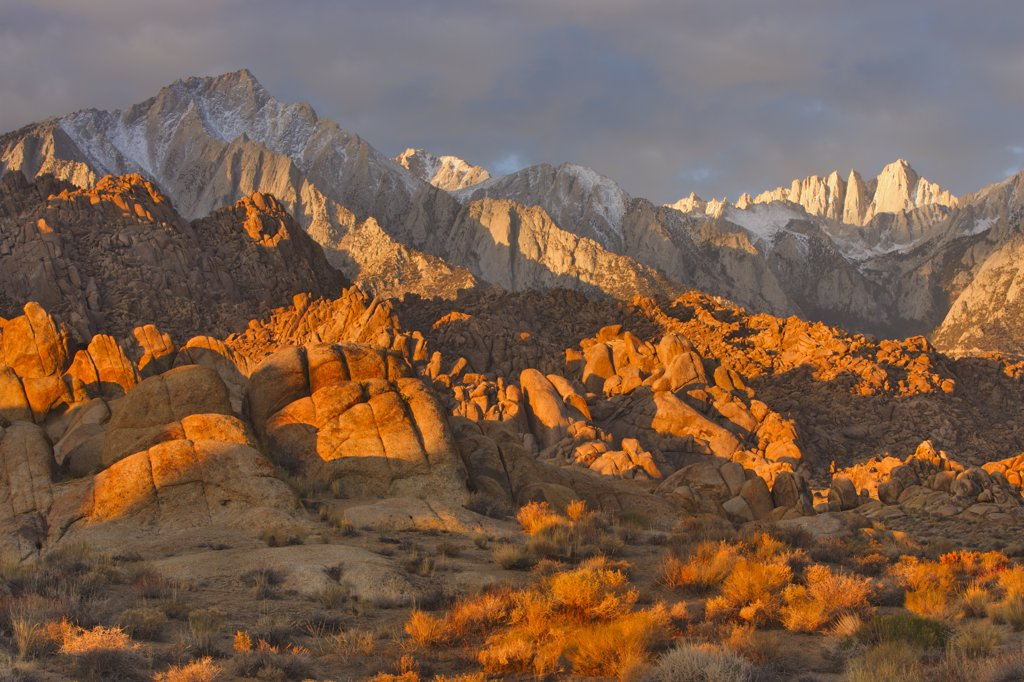 Stock Photo: 4097-2152 Panoramic view of mountains, Alabama Hills, Mt Whitney, Californian Sierra Nevada, California, USA