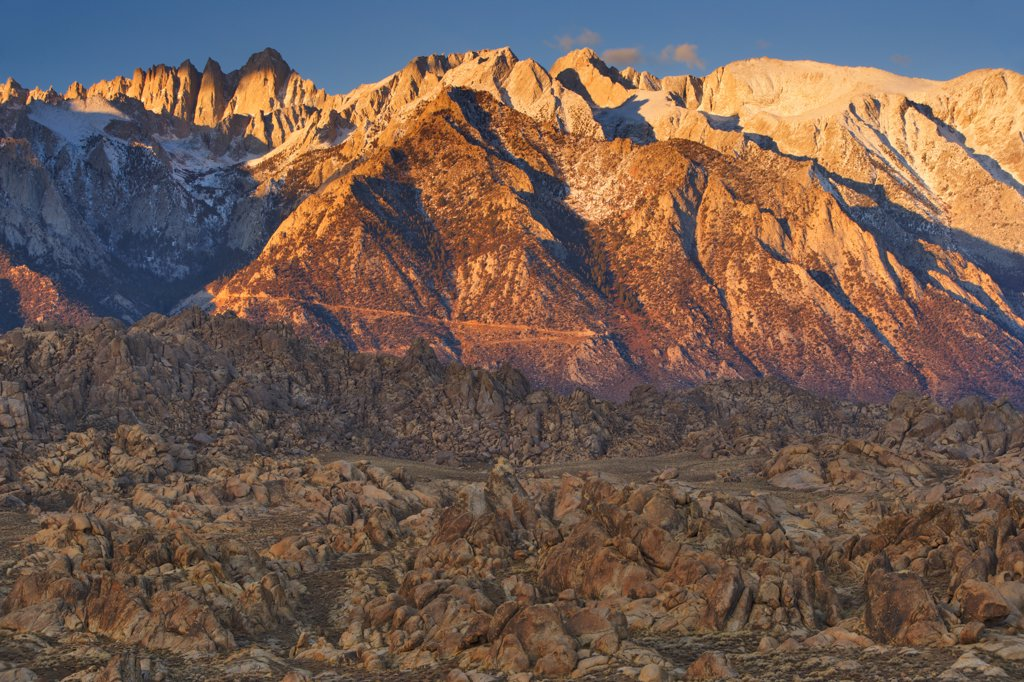 Stock Photo: 4097-2158 Panoramic view of mountains, Alabama Hills, Mt Whitney, Californian Sierra Nevada, California, USA