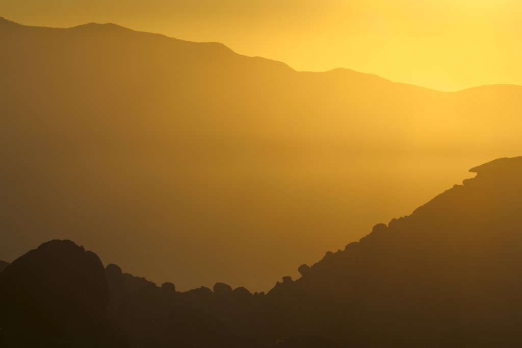 Stock Photo: 4097-2161 Silhouette of mountains at sunrise, Alabama Hills, Californian Sierra Nevada, California, USA