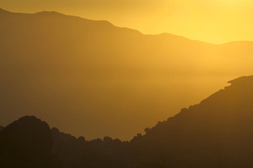 Silhouette of mountains at sunrise, Alabama Hills, Californian Sierra Nevada, California, USA : Stock Photo
