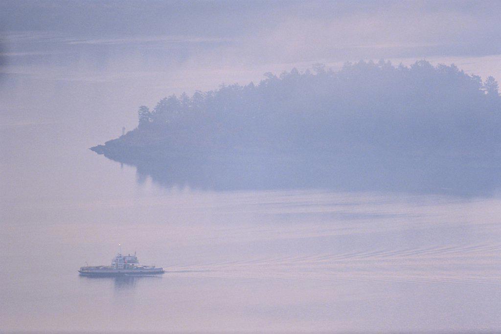 Mill Bay ferry in the sea, Finlayson Arm, Victoria, Vancouver Island, British Columbia, Canada : Stock Photo