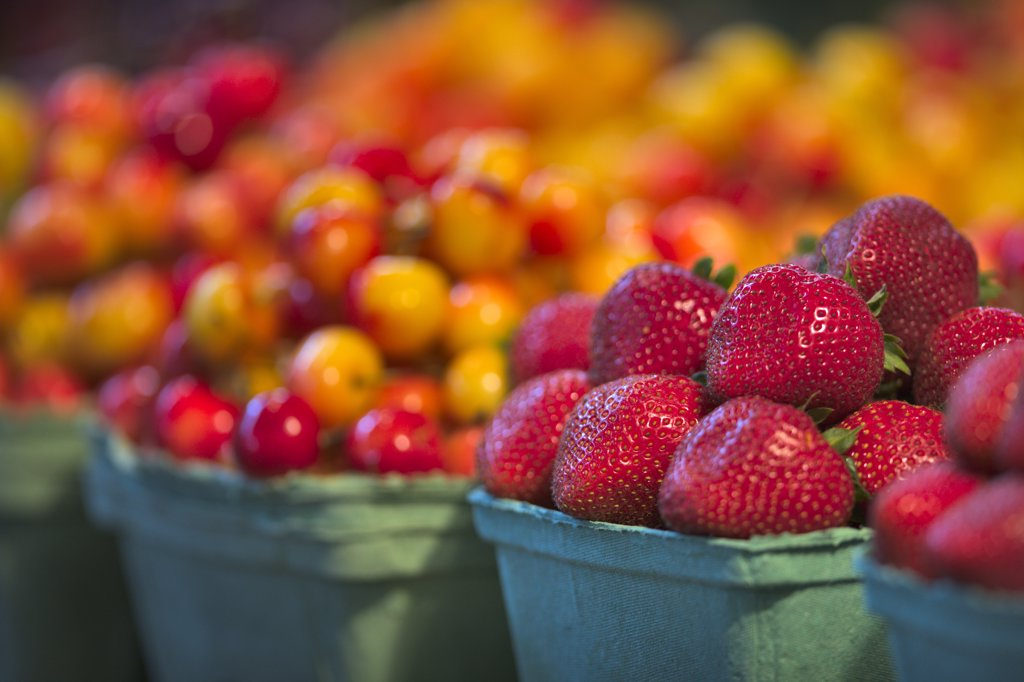 Stock Photo: 4097-2505 Fruits at a market stall, Granville Island, Vancouver, British Columbia, Canada