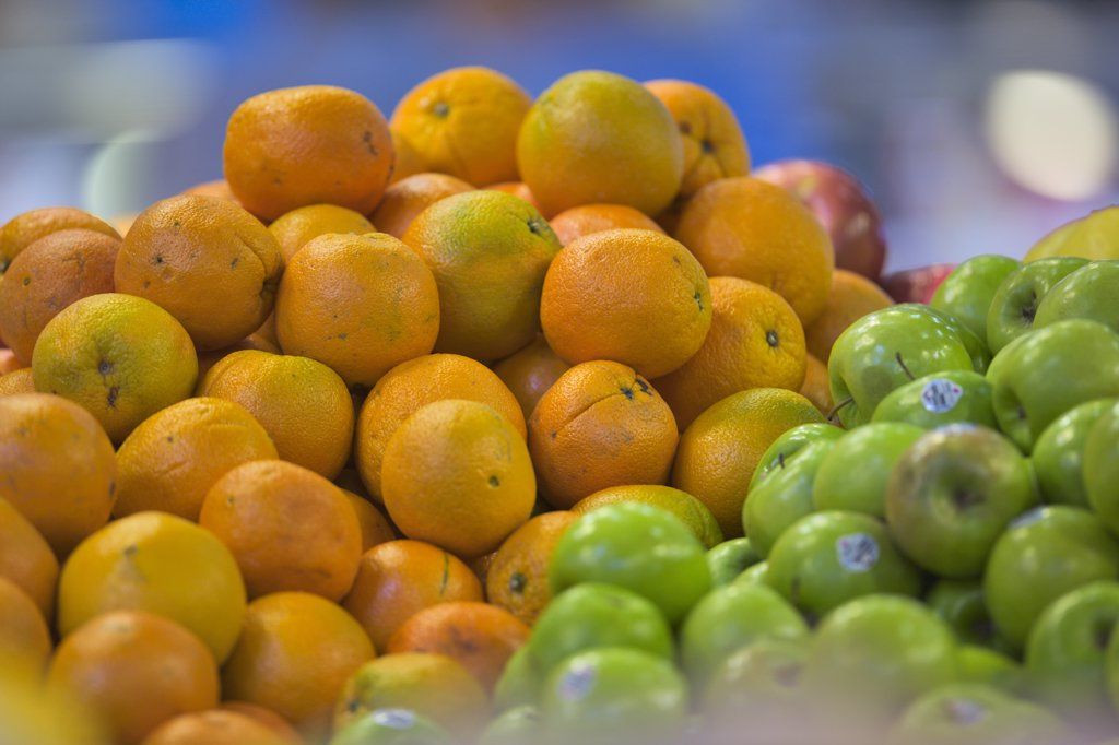 Fruits at a market stall, Granville Island, Vancouver, British Columbia, Canada : Stock Photo