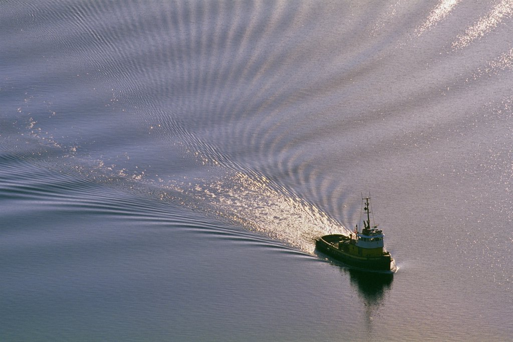 Stock Photo: 4097-319 Tugboat in the sea, Finlayson Arm, Victoria, Vancouver Island, British Columbia, Canada