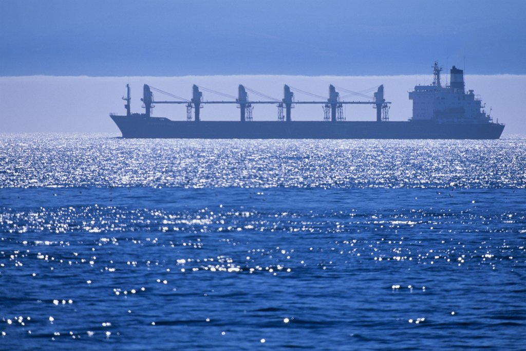 Container ship in the sea, Victoria, Vancouver Island, British Columbia, Canada : Stock Photo