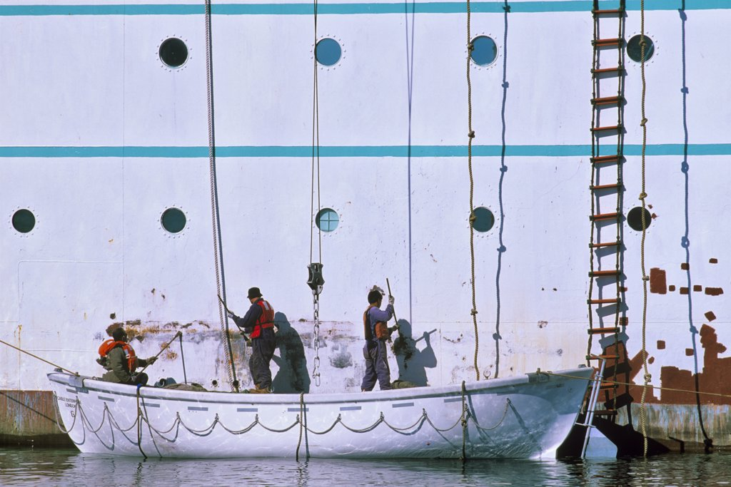 Workers painting a cruise ship, Ogden Point, Victoria, Vancouver Island, British Columbia, Canada : Stock Photo