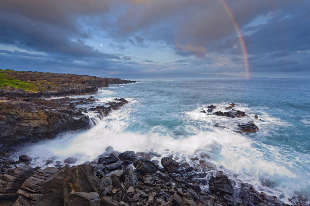 Stock Photo: 4097-3368 Rainbow over the ocean, Oneloa Bay Beach, Maui, Hawaii, USA