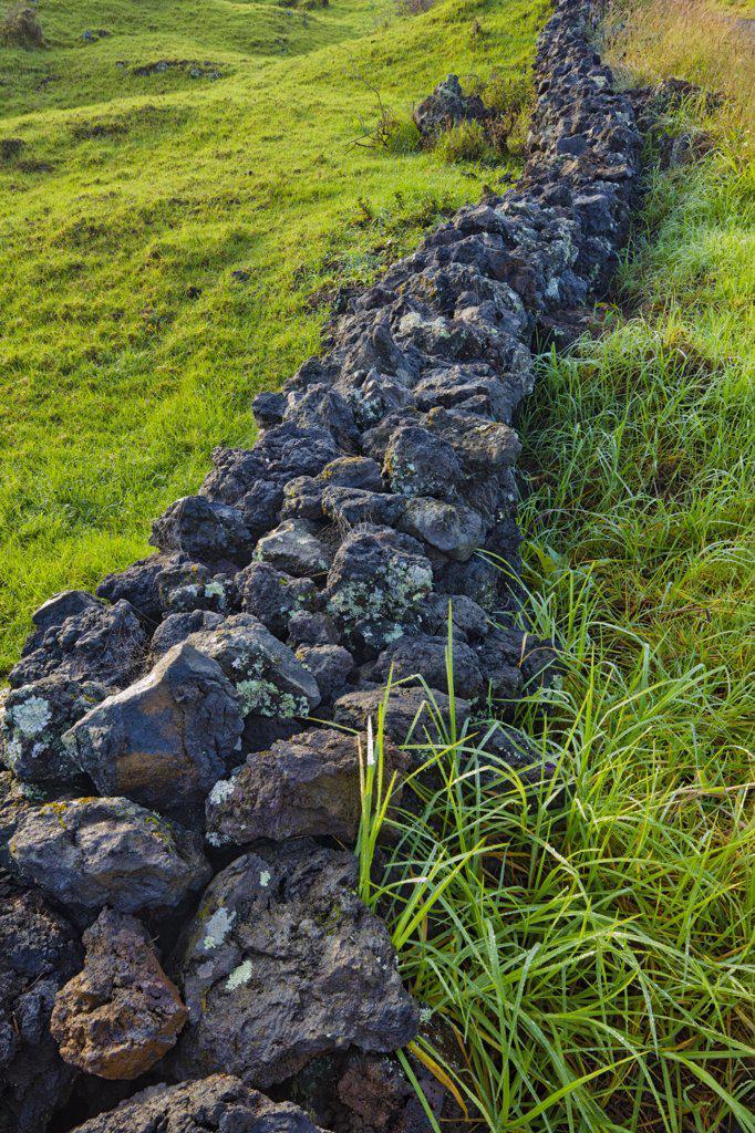 Stock Photo: 4097-3378 Stone wall in a field, Maui, Hawaii, USA