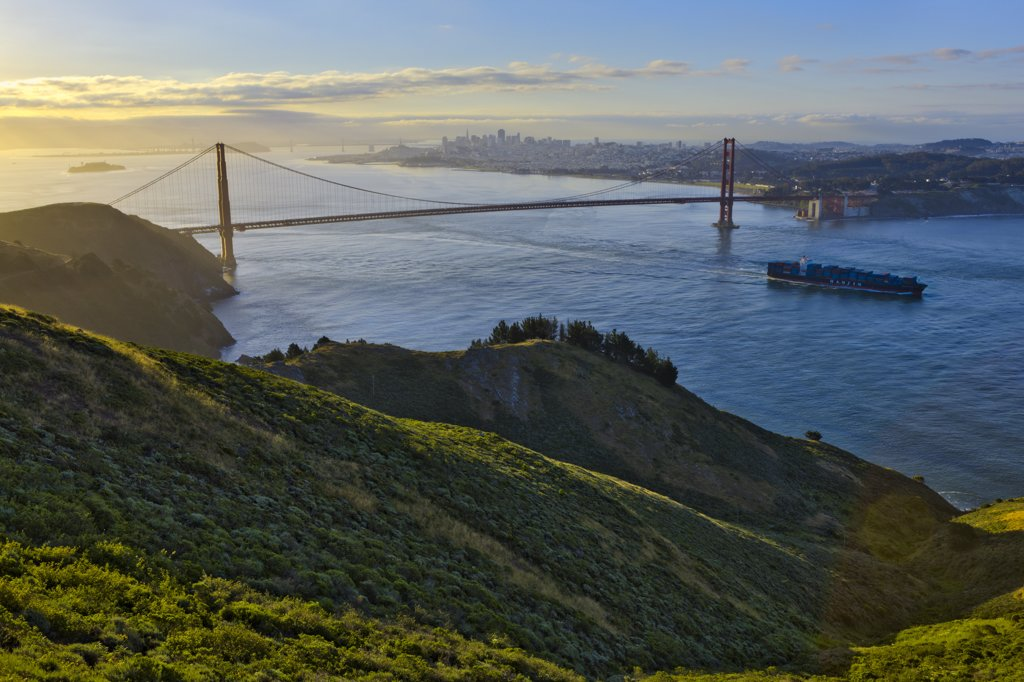 Stock Photo: 4097-3712 Suspension bridge across the bay, Golden Gate Bridge, San Francisco Bay, San Francisco, California, USA