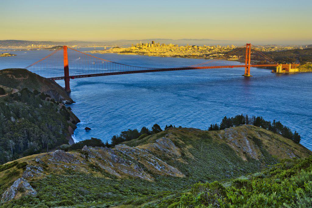 Stock Photo: 4097-3745 Suspension bridge across the bay viewed from Hawk Hill, Golden Gate Bridge, San Francisco Bay, San Francisco, California, USA
