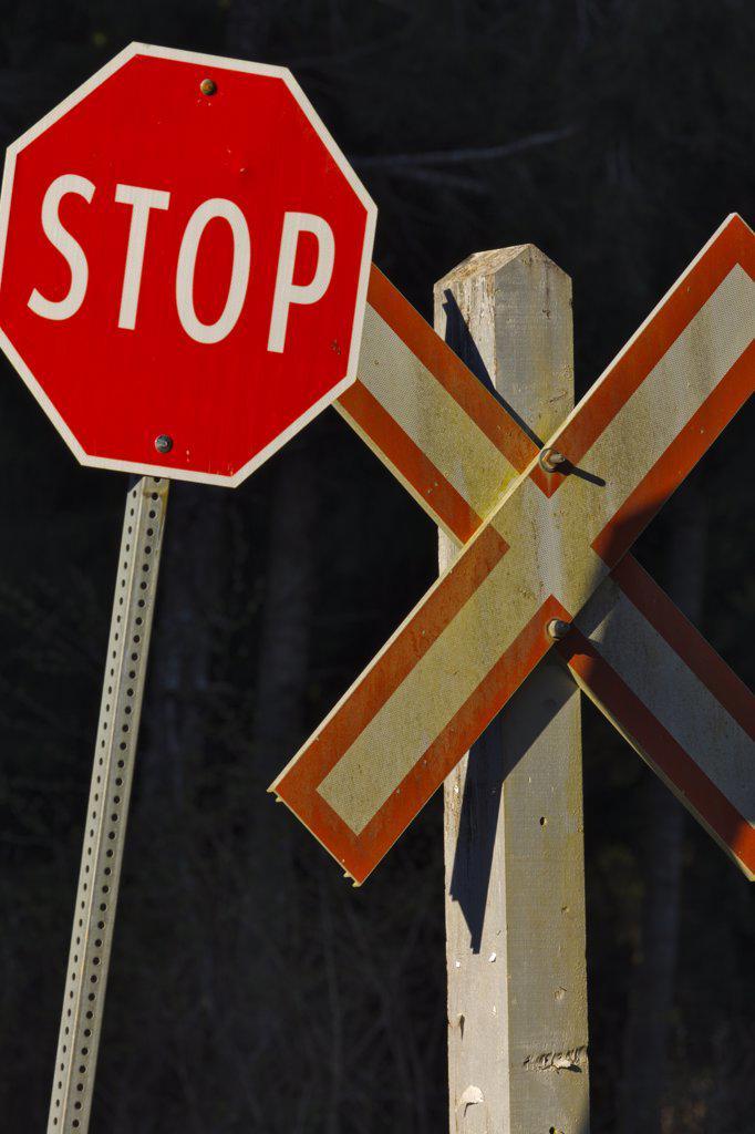 Railroad crossing stop sign, Qualicum Beach, Victoria, British Columbia, Canada : Stock Photo