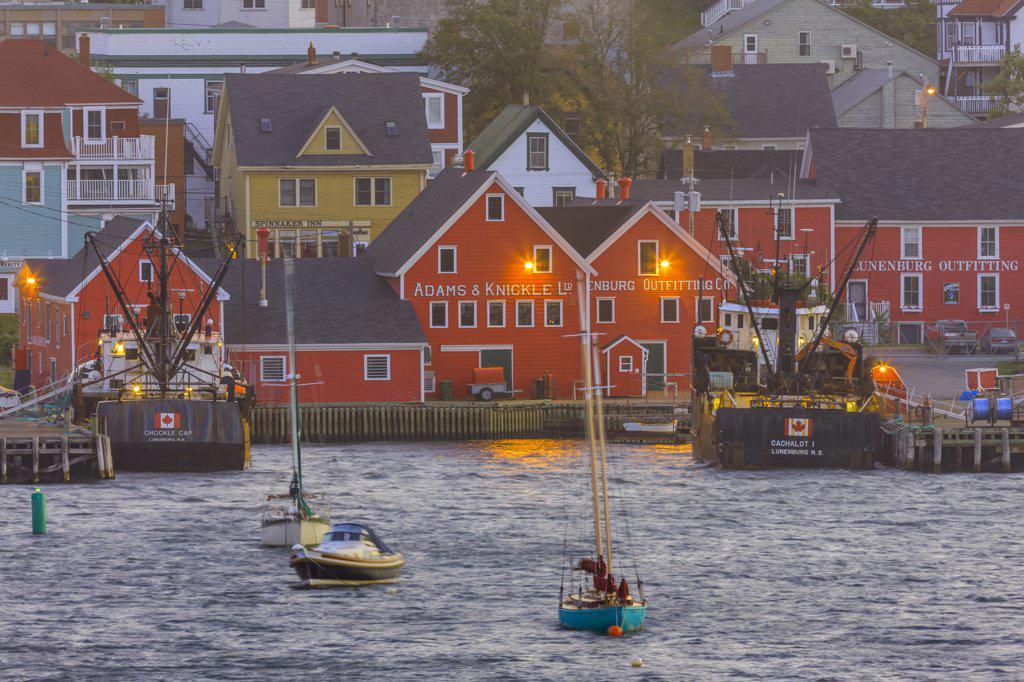 Stock Photo: 4097-3974 Boats in the ocean, Lunenburg, Nova Scotia, Canada