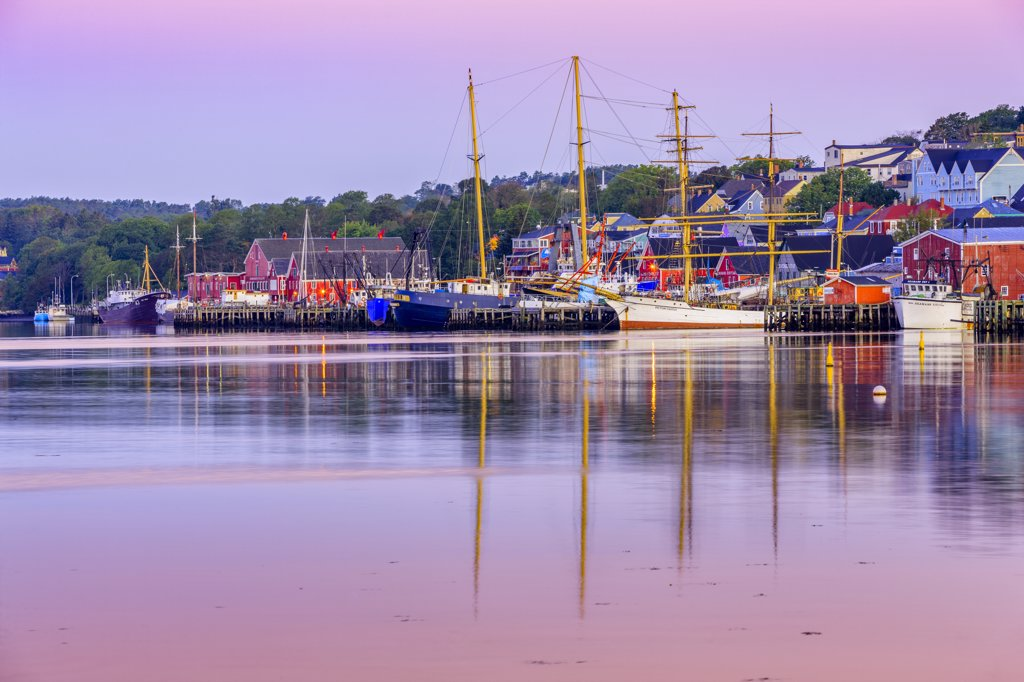 Stock Photo: 4097-3996 Reflection of boats and buildings in water, Lunenburg, Nova Scotia, Canada