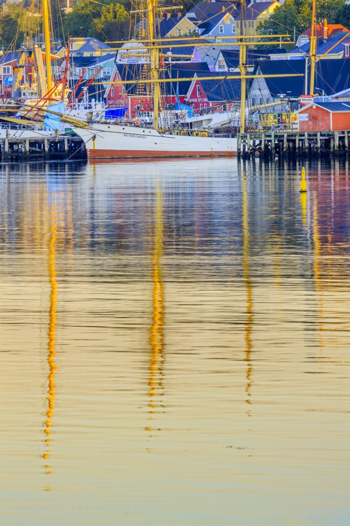 Boats at a harbor, Lunenburg, Nova Scotia, Canada : Stock Photo