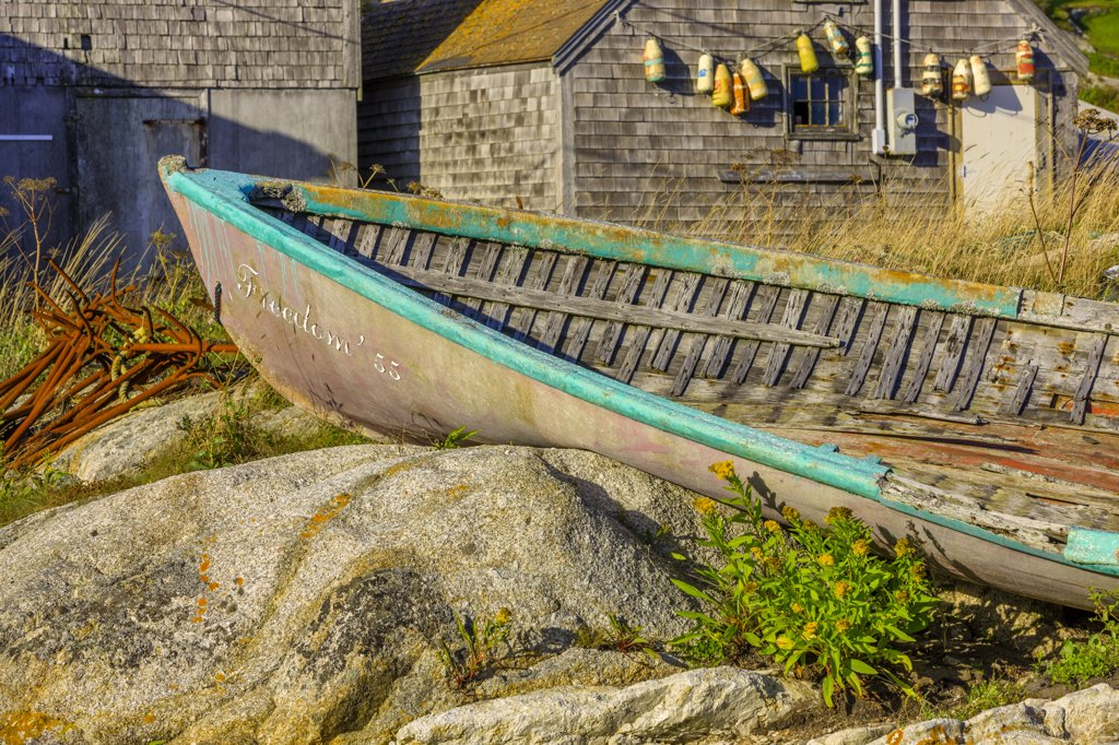 Stock Photo: 4097-4041 Abandoned rowboat, Peggy's Cove, Nova Scotia, Canada