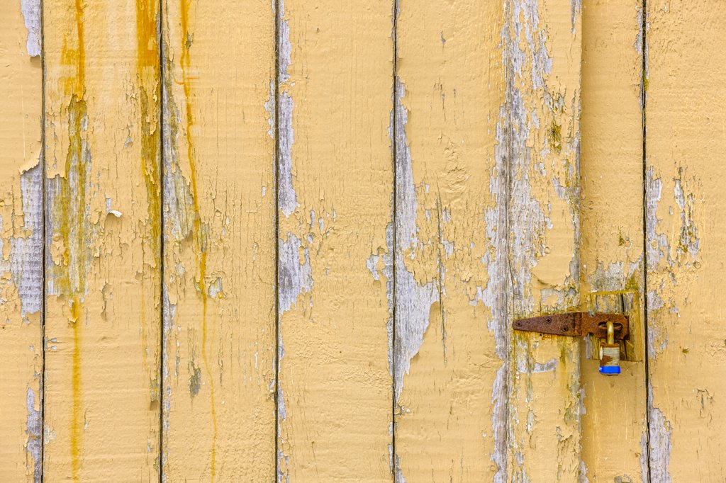 Stock Photo: 4097-4061 Locked door of a boathouse, Cape Turner, Prince Edward Island, Canada