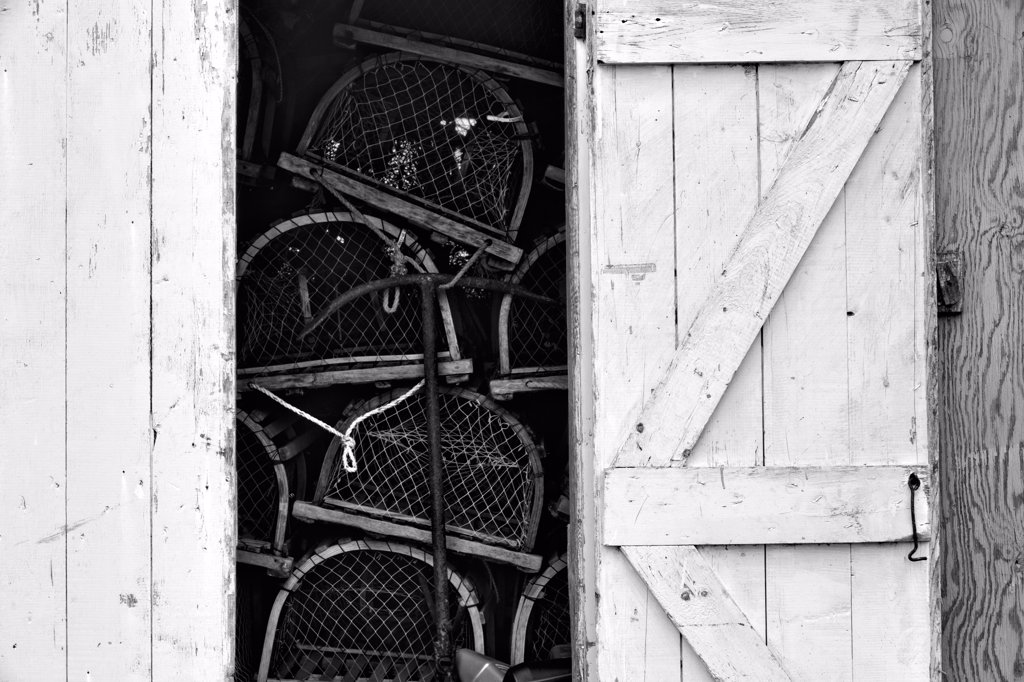 Stock Photo: 4097-4063 Lobster pots in a boathouse, Cape Turner, Prince Edward Island, Canada