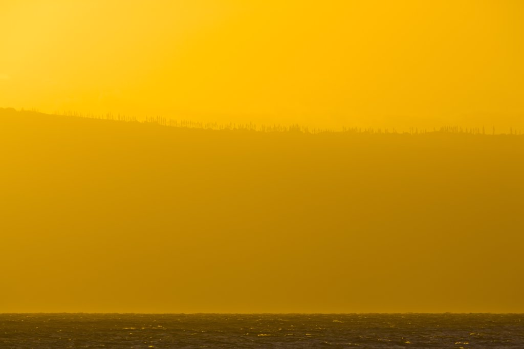 Stock Photo: 4097-4316 Ocean at sunset, Lanai, Maui, Hawaii, USA